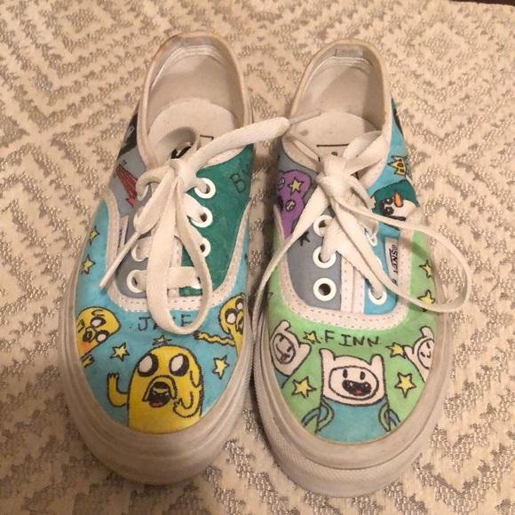 Vans Shoes | Custom Vans Adventure Time | Poshmark
